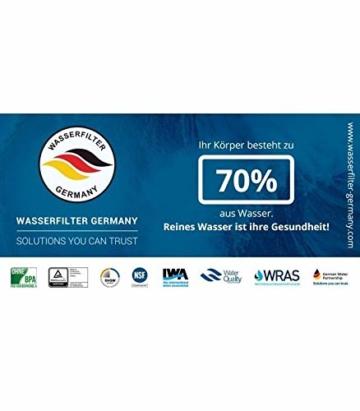 Klassische Umkehrosmoseanlage WASSERFILTER Germany - 5 Stufen 75GPD Membran 285 L Kalkfreies Trinkwasser täglich - Einbaufertiges Komplettset mit BIOaktivkohle und NSF ohne BPA - 2