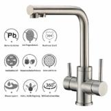 3 Wege Trinkwasserhahn Armatur für Wasserfilter Wasserhahn, CREA Küche Küchearmatur Hebel 3 in 1 Mischbatterie Spüle Filtersystem Spültischarmatur, RO Wasserkran Spülbeckenarmatur - 1