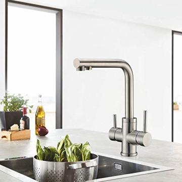 3 Wege Trinkwasserhahn Armatur für Wasserfilter Wasserhahn, CREA Küche Küchearmatur Hebel 3 in 1 Mischbatterie Spüle Filtersystem Spültischarmatur, RO Wasserkran Spülbeckenarmatur - 3