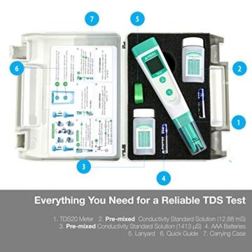 Apera Instruments TDS20 TDS-Meter, digitales Messgerät mit Temperaturanzeige (1% Genauigkeit, ±0.5°C, wasserfest, ATC, Tragekoffer) - 3