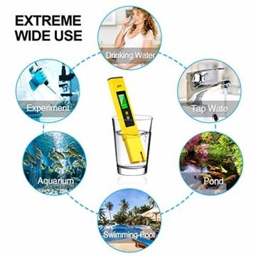 PH Messgerät , omitium PH Messgerät Wasser mit LCD Anzeige PH Wert Messgerät Digitaler PH-Meter für Trinkwasser, Lebensmittel, Schwimmbäder, Thermen, Aquarien, Hydroponik und andere  - 3