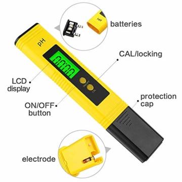 PH Messgerät , omitium PH Messgerät Wasser mit LCD Anzeige PH Wert Messgerät Digitaler PH-Meter für Trinkwasser, Lebensmittel, Schwimmbäder, Thermen, Aquarien, Hydroponik und andere  - 6
