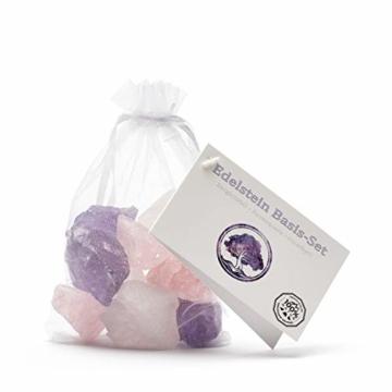 Premium Edelsteinwasser Basis-Mischung | 100% Natursteine | Wassersteine-Set: Rosenquarz, Amethyst, Bergkristall (400g) - 4
