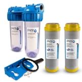 PureOne AKS2 Antikalk-Set. Doppel Filteranlage 10 Zoll. Entkalkung bzw. Wasserenthärtung. Ionentauscher Resin. Filtergehäuse plus AK Resin Filterkartusche. Für Zisterne, Brunnenwasser - 1