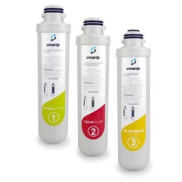 smardy 3in1 Ersatzfilter Set für Osmose-Anlage R100 | Aktivkohlefilter und RO-Membrane | Filterwechsel alle 12 Monate - 1