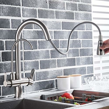 Onyzpily Gebürstetes Nickel Reines Wasser Küchenarmatur mit ausziehbar Doppelgriff Heißes und kaltes Trinkwasser 3-Wege-Filter Küchenmischbatterien - 3