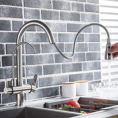 Onyzpily 3-Wege-Filter Küchenamatur - Gebürstetes Nickel Reines Wasser Küchenarmatur mit ausziehbar Doppelgriff Heißes und kaltes Trinkwasser 3-Wege-Filter Küchenmischbatterien - 3