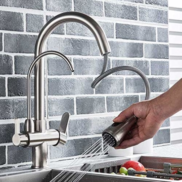 Onyzpily Gebürstetes Nickel Reines Wasser Küchenarmatur mit ausziehbar Doppelgriff Heißes und kaltes Trinkwasser 3-Wege-Filter Küchenmischbatterien - 4
