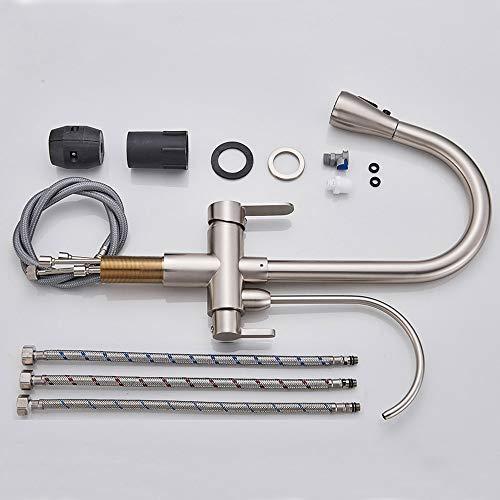 Onyzpily 3-Wege-Filter Küchenamatur - Gebürstetes Nickel Reines Wasser Küchenarmatur mit ausziehbar Doppelgriff Heißes und kaltes Trinkwasser 3-Wege-Filter Küchenmischbatterien - 6