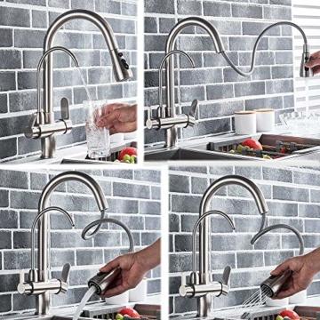Onyzpily Gebürstetes Nickel Reines Wasser Küchenarmatur mit ausziehbar Doppelgriff Heißes und kaltes Trinkwasser 3-Wege-Filter Küchenmischbatterien - 9