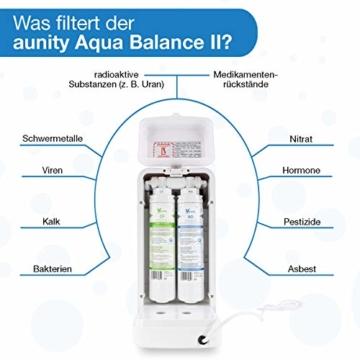 aunity®️ Aqua Balance II - Wasserfilter Anlage - Osmoseanlage Trinkwasser - sofort 4 Verschiedene Temperaturen - reichert Anionen&Mineralien an - 4