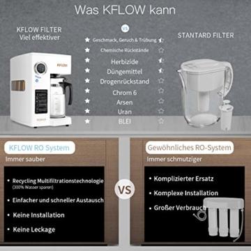 KFLOW Auftisch Wasserfilter, Null-Installations-Wasser Filter für Trinkwasser mit Umkehrosmoseanlage, 4-Stufen Alkalischer Mobil Umkehrosmos Trinkwasserfilter mit Patentiertem Wassertank - 2