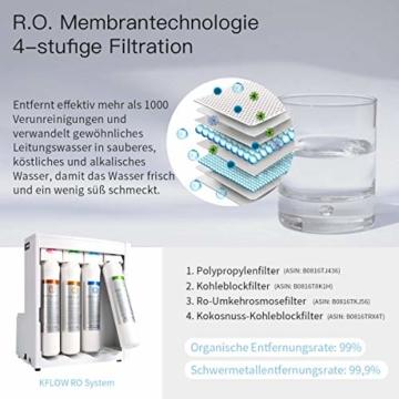 KFLOW Auftisch Wasserfilter, Null-Installations-Wasser Filter für Trinkwasser mit Umkehrosmoseanlage, 4-Stufen Alkalischer Mobil Umkehrosmos Trinkwasserfilter mit Patentiertem Wassertank - 3