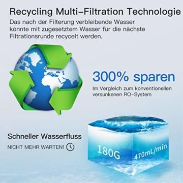 KFLOW Auftisch Wasserfilter, Null-Installations-Wasser Filter für Trinkwasser mit Umkehrosmoseanlage, 4-Stufen Alkalischer Mobil Umkehrosmos Trinkwasserfilter mit Patentiertem Wassertank - 4