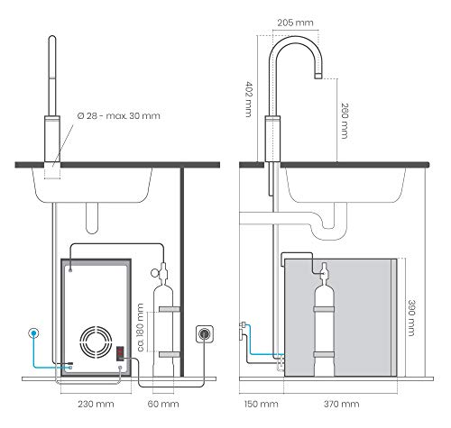 smardy blue Soda & Cool Wassersprudler smardy blue Soda & Cool Wassersprudler mit Ultrafiltration und Aktivkohleblockfilter für stilles, gekühltes, spritziges Sprudelwasser - 6