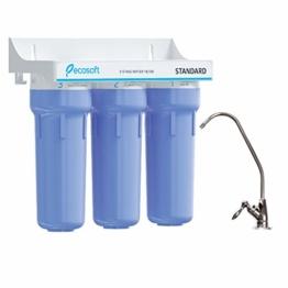 Ecosoft 3-stufiges Trinkwasser-Filtrationssystem unter der Spüle, hohe Kapazität, inkl. Sediment, 2 x CTO-Kohleblockfilter mit Küchenarmatur - 1