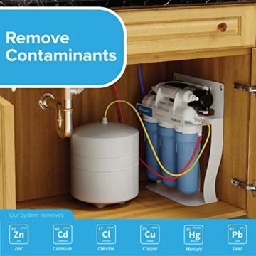 Ecosoft 3-stufiges Trinkwasser-Filtrationssystem unter der Spüle, hohe Kapazität, inkl. Sediment, 2 x CTO-Kohleblockfilter mit Küchenarmatur - 4