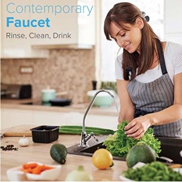 Ecosoft 3-stufiges Trinkwasser-Filtrationssystem unter der Spüle, hohe Kapazität, inkl. Sediment, 2 x CTO-Kohleblockfilter mit Küchenarmatur - 6